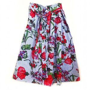 Zara Midi Skirt Floral Blue & White Stripe Sz M ✨